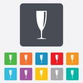 Glass of champagne sign icon. Alcohol drink. — Stock Vector