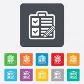 Checklist sign icon. Control list symbol. — Vecteur