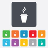 Coffee glass sign icon. Hot coffee button. — Stock vektor