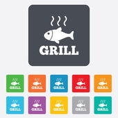 Fish grill hot icon. Cook or fry fish symbol. — Stock vektor