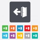 Emergency exit sign icon. Door with left arrow. — Stockvektor
