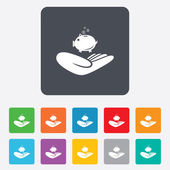 Donation hand sign icon. Charity or endowment. — Vettoriale Stock