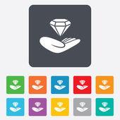Jewelry insurance sign. Hand holds diamond. — Stock Vector