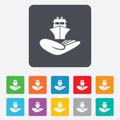Shipment insurance sign. Hand holds ship. — Stock Vector