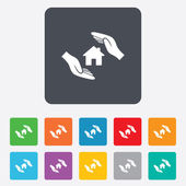 House insurance sign icon. Hands protect cover. — Stock Vector