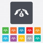 Protection money sign icon. Hands protect cash. — Stock Vector