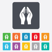Pray hands sign icon. Religion priest symbol. — Stock Vector