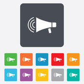 Megaphone sign icon. Loudspeaker strike symbol. — Stock Vector
