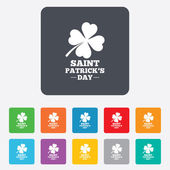 Clover with four leaves sign. St. Patrick symbol — Stock vektor