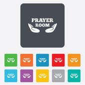 Prayer room sign icon. Religion priest symbol. — Vecteur