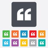 Quote sign icon. Quotation mark symbol. — Vecteur