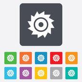Icono de signo de la rueda circular de la sierra. Cuchilla de corte. — Vector de stock