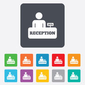 Reception sign icon. Hotel registration table. — Wektor stockowy