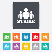 Strike sign icon. Group of people symbol. — Stock Vector