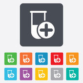 Medical test tube sign icon. Lab equipment. — Stock Vector
