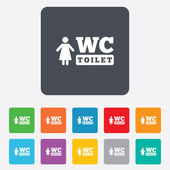 WC women toilet sign icon. Restroom symbol. — Stock vektor