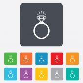Ring sign icon. Jewelry with diamond symbol. — Stock Vector