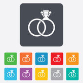 Wedding rings sign icon. Engagement symbol. — Stock Vector