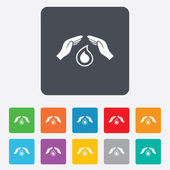 Save water sign icon. Hands protect water drop. — Stock Vector