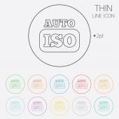 ISO Auto photo camera sign icon. Settings symbol — Stock Vector
