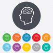Head with brain signs icons — Stock Vector #59946661