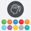 Head with brain signs icons — Stock Vector #59947333