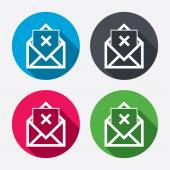 Mail delete icons — Stock Vector