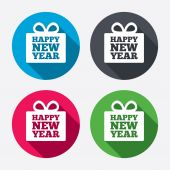 Happy new year gift sign icons — Stock Vector