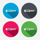 Way out left sign icons — Stock Vector