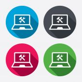 Laptop repair sign icons — Stock Vector
