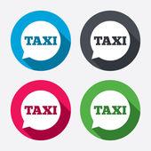 Taxi bubliny podepisuje ikony — Stock vektor