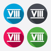 Roman numeral eight icons — Stock Vector