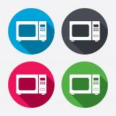 Microwave oven sign icons — Stock Vector