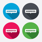 Reserved sign icons — Stock Vector