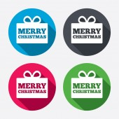Merry christmas gift sign icons — Stock Vector