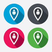 Map pointer user sign icons — Vettoriale Stock