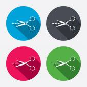 Scissors with cut line sign icons — Vector de stock