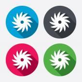 Saw circular wheel sign icons — Stock Vector