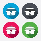 Boil 7 minute icons — Stock Vector