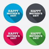 Happy Mothers's Day sign icons — Stock Vector