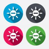 Sun minus signs icons — Stock Vector