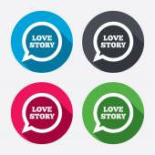 Love story speech bubble icons — Vetorial Stock