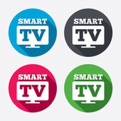 Widescreen Smart TV signs icons — Stock Vector