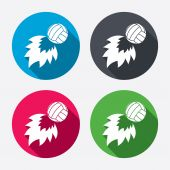 Volleyball fireball icons — Stock Vector