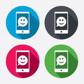 Selfie glimlach gezicht teken pictogrammen — Stockvector