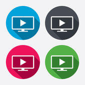 Widescreen TV mode sign icons — Stock Vector