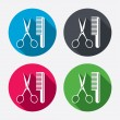 Постер, плакат: Comb hair with scissors icons