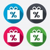 Gift box sign discount icons — Stock Vector