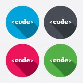 Code sign icons — Stock Vector