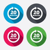 Every 20 minutes sign icons — Stock Vector